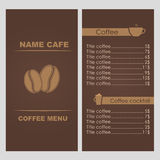 Design coffee menu. For a restaurant, cafe or coffee house. Vector illustration Royalty Free Illustration