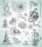 Design collection with sea mythologycal creatures, ships, mermaid and symbols Stock Image