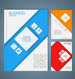 Design color business brochures. Design color brochures for business in geometric style, lines, circles, diamonds and octagons. Set Stock Illustration