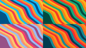 Design colorful backgrounds. With wavy stripes, four backgrounds vector illustration