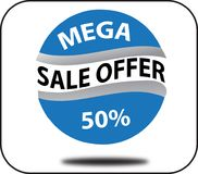 Free Design Colorful Mega Sale Offer 50 Web Button White Background Royalty Free Stock Photo - 122117005