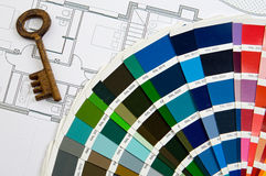 Design colors with key. And planes of one house royalty free stock image