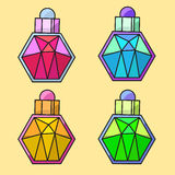 Design of coloured parfume bottles. With liquid Stock Images
