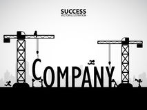 Design company building concept, vector illustration. Many men help each other to construct company building royalty free illustration
