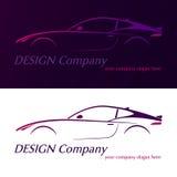 Design company logo. Vector company logo icon element template violet car contour shape fast racing automobile service auto. Vector illustration Stock Photo