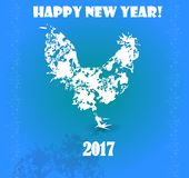 Happy New Year. The design of the composition with a cock for the New Year 2017 Stock Photos