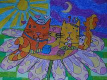 A picture of two cats. He and she. Day and night royalty free illustration