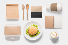 Design concept  brand of mockup burger set isolated on white bac Royalty Free Stock Photo