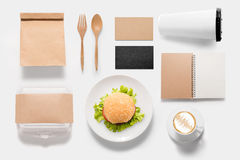 Design concept  brand of mockup burger set on white background. Royalty Free Stock Image