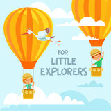 Design concept with cute children flying on air balloons in the sky. Stock Photo