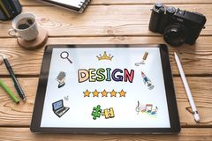 Design Concept on Digital Tablet Screen royalty free stock photography