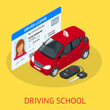 Design concept driving school or learning to drive. Flat isometric illustration Stock Photos