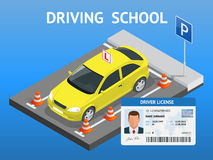 Design concept driving school or learning to drive. Flat isometric illustration Royalty Free Stock Images