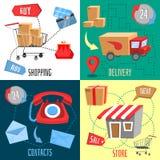 Design concept of e-commerce. Flat design concept of e-commerce, delivery, online shopping, business. Vector illustration royalty free illustration