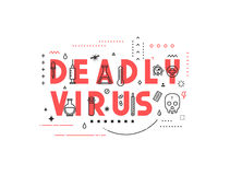 Design concept epidemic of deadly virus. Modern line style illustration. Concepts of words deadly virus, style thin line art, design banners for website and Royalty Free Stock Photography
