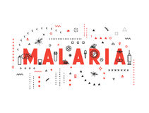Design concept epidemic of malaria. Modern line style illustration. Concepts of words malaria, style thin line art, design banners for website and mobile Royalty Free Stock Photo