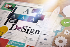 Design concept for graphic designers and design agencies services. Concept for web banners, internet marketing, printed material, presentation templates stock images