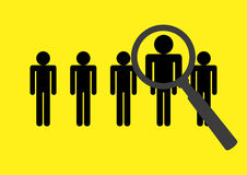 Design concept for headhunting. Magnifying glass searching on stick figures, design concept for headhunting, search for employees or job vacancy Royalty Free Stock Photo