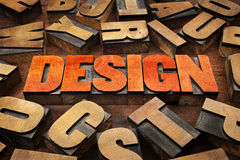Design concept in letterpress wood type Royalty Free Stock Photography