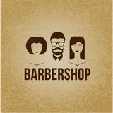 Design concept of the logo. Barbershop hairdresser. Permanent brazillian straightening, perming, hair coloring, cutting, styling ,. Mans and woman faces. Flat Stock Image