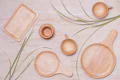 Design concept of mockup arious kitchenware utensils set on tabl. E Stock Images