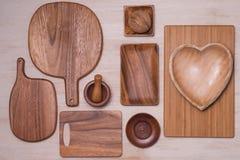 Design concept of mockup arious kitchenware utensils set on tabl Stock Photos