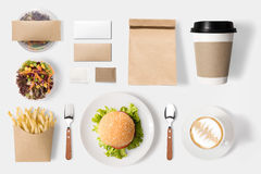 Design concept of mockup burger and coffee set  on white. Background. Copy space for text and logo. Clipping Path included isolated on white background Stock Image