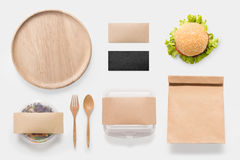 Design concept of mockup burger and salad set  on white Royalty Free Stock Photography