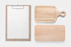 Design concept of mockup clip board and cutting board set isolated on white background. Copy space for text and logo. Clipping Pa. Th included on white royalty free stock photography