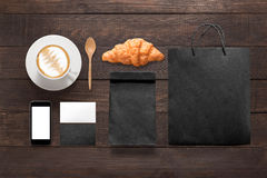 Design concept of mockup coffee break time on the wooden backgro Royalty Free Stock Photography