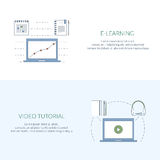 Design concept for studying, learning, distance and online education, video tutorials. Flat line web banners, icons Royalty Free Stock Image