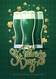 Design concept with three beer glasses and lettering: St. Patrick`s Day. Perfect for advertising, invitation, poster, greeting card, banner, celebration vector illustration
