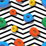 Design concept for toys package, fashion textile print, wrapping. Vector seamless geometric pattern. Multicolor circle rings and black, white zigzag background stock illustration