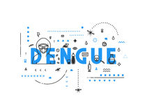 Design concept virus of dengue. Modern line style illustration. Concepts of words dengue, style thin line art, design banners for website and mobile website Stock Images