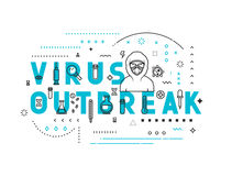 Design concept virus outbreak. Modern line style illustration. Concepts of words virus outbreak, style thin line art, design banners for website and mobile Stock Photography