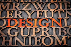 Design concept in wood type Royalty Free Stock Photo