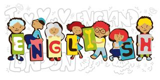 Design Concept Of Word ENGLISH Website Banner. Cartoon kids holding letters ENGLISH in one line. Vector cartoon royalty free illustration