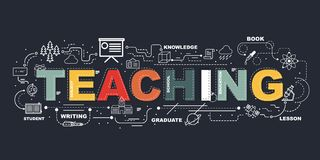 Design Concept Of Word TEACHING Website Banner. Design Concept Of Word TEACHING Website Banner Stock Photo