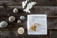 Design concept with zen beauty flat lay on old wood Royalty Free Stock Photo