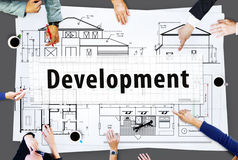 Design Construct Drawing Exterior Development Concept.  Royalty Free Stock Photo