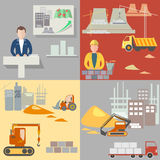 Design and construction of buildings, construction icons set Royalty Free Stock Photography
