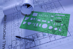 Design construction papers. With pen and ruler Royalty Free Stock Photos