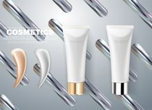 Design of cosmetic packaging. Gray cream tube with smear stroke stock illustration