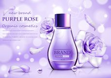 Design cosmetics product advertising with rose for catalog, magazine. Vector design of cosmetic package. Ð¡osmetics advertising poster vector illustration
