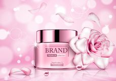 Design cosmetics product advertising with rose for catalog, magazine. Vector design of cosmetic package. Ð¡osmetics advertising poster royalty free illustration