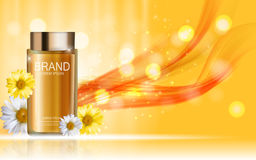 Design Cosmetics Product Bottle with Flowers Chamomile Template Stock Photos