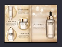 Design Cosmetics Product  Brochure Template for Ads or Magazine Background. 3D Realistic Vector Iillustration. EPS10 Royalty Free Stock Photography
