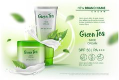 Design cosmetics product with green tea extract advertising for catalog, magazine. Vector Mock up of cosmetic package. royalty free illustration