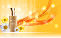 Design Cosmetics Skin Toner Product Bottle with Flowers Chamomil Stock Images