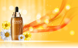 Design Cosmetics Skin Toner Product Bottle with Flowers Chamomil Royalty Free Stock Images